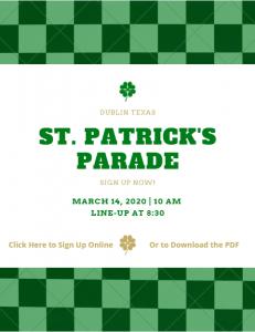 St. Patrick's Parade Registrtion