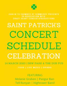 St. Patrick's Celebration Concert Schedule