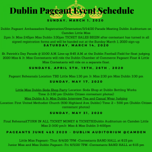 2020 Pageant Schedule